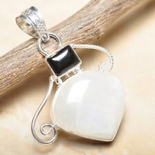 """Fire White Rainbow Moonstone Opal 925 Sterling Silver 2"""" Pendant #P15399"""