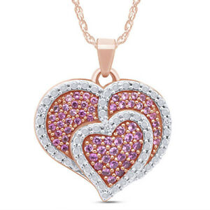 """Pink Sapphire & Diamond Accent Heart Pendant 14K Rose Gold Over Sterling 18"""""""