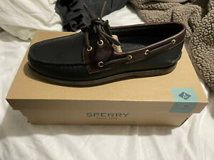 NEW Sperry Top-SiderBlack Amaretto A/O 2-Eye Boat Shoe Men's 10.5 $100