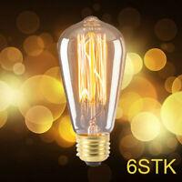 6X E27 40W Vintage Edison Lampe Ampoule Douille Filament Carbone Bulbs FR