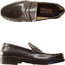 Ferragamo mocassini pelle uomo men's shoes loafers nero black 10 EEE