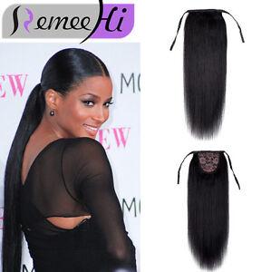 UK 100% Human hair drawstring ponytail extensions straight human hair ponytail