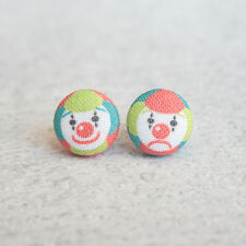Clowns Fabric Button Earrings