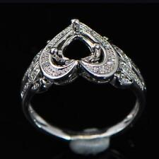 7.0mm Heart Cut Solid 14k 585 White Gold Natural Diamond Semi Mount Ring
