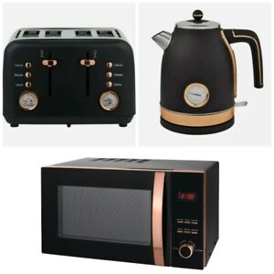 NEW - Brooklyn Black & Rose Gold Kettle, Toaster and microwave (Multi) Set