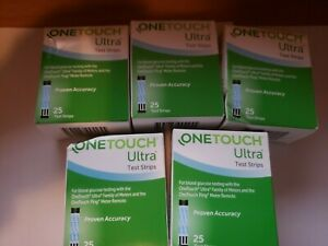 ONE TOUCH ULTRA 125 Test Strips - 5 Boxes of 25 each -ding, Exp 09/21 + FreeShip