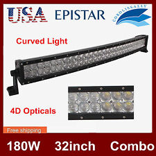 4D Lens 32inch 180W LED Curved Light Bar Combo Offroad Truck Boat 4X4WD SUV JEEP