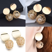 Women Gold Plated Round Pearl Dangle Drop Earrings Stud  Fashion Charm  Jewelry