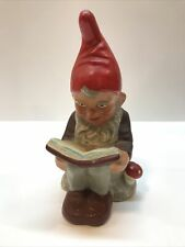 Vintage German Ceramic Garden Yard Gnome Sitting Reading A Book 7.5� Excellent!