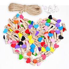 50pcs Love Heart Small Wooden Clothespin Craft Clips DIY Photo Cards Peg Decor