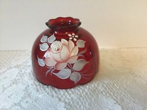 Westmoreland Red Glass Hand Painted Fairy Lamp SHADE ONLY Signed D. Green 1980