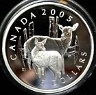 2005 CANADA $5 - 99.99 SILVER PROOF COIN & WHITE TAILED DEER & FAWN STAMP SET