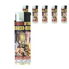 Vintage Alien Abduction D4 Lighters Set of 5 Electronic Refillable Butane