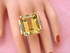 VINTAGE RETRO 54.14 CARAT CITRINE SOLITAIRE PINK 18K HUGE COCKTAIL RING 1940
