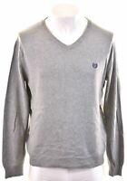 CHAPS Mens V-Neck Jumper Sweater Medium Grey Cotton  IJ08
