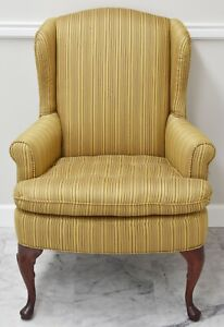Cox Manufacturing Co. Mahogany Wing Chair Gold Striped Tufted Fabric USA Made