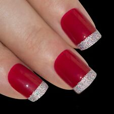 False Nails Red Silver French Manicure Bling Art 24 Fake Medium Tips 2g Glue
