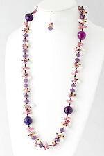 ED32 Handmade Austrian Crystal Long Purple Pink Ivory Abalone Statement Necklace