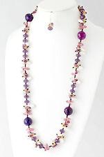 ED32 Handmade Austrian Crystal Long Purple Pink Ivory Abalone Statement Necklace