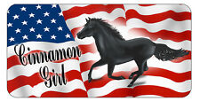 "Horse Stallion USA Flag Decal Bumper Sticker 3.5"" x 6"" Name Text Gifts Horses"