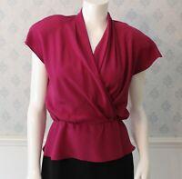 Vintage 1990s Perry Ellis Magenta & Red Floral Silk Short Sleeve Blouse & Tank