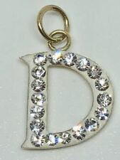 New 9ct 9k Solid Yellow Gold Diamond Initial D Pendant