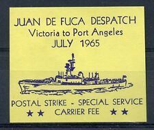 Weeda Canada Locals J1 VF MH imperf July 1965 Juan de Fuca strike label CV $15