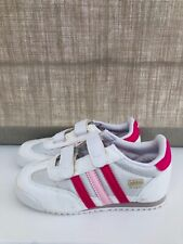 Baby Girls White Pink Adidas Dragon Trainers Sneakers Velcro Closure UK9.5/EU27