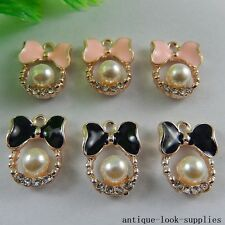 Mixed Color Alloy Cute Bow Ring Enamel Pearl Pendants Crafts Charms 10pcs 50967