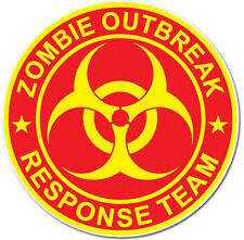 Zombie Outbreak Response Team Decal UV Stablel Printed Sticker - Yellow on Red
