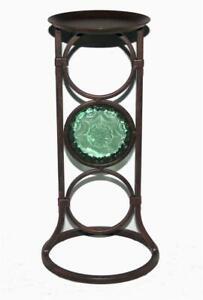 "Partylite LA ROSETTA Bronze Metal Glass Medallion 13.5"" Pillar Candle Holder NIB"