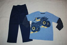 Boys Outfit Monster Truck L/S T-Shirt Waffle Sleeves Navy Pants Pull On Size 5