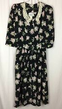 JOHN RICHARD TEA Dress BLACK FLORAL WITH LACE COLLAR Padded Shoulders Size 5/6
