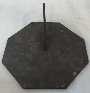 Antique Unusual Slate Sundial Ingraved Star and Dated 1817 Tho. Bibby