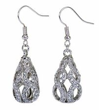 Swarovski Elements Crystal Drop Abstract Earrings Rhodium Plated New 7146y