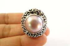 Pink Mabe Pearl Solitaire Sterling Silver Ring Size 8.75