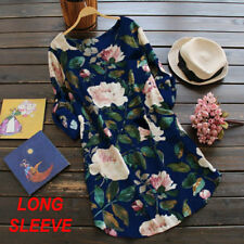 fa7b41bd71d Women Rolled up Long Sleeve Floral Printed Tunic Tops T Shirt Mini Loose  Dress Dark Blue