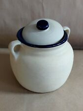 Vintage Monmouth Western Cobalt American Stoneware Factory Ovenproof Bean Pot