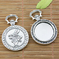 3pcs tibetan silver round cabochon settings with rabbit pattern EF2503