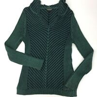 Eddie Bauer Hooded Sweater Women's Size Small Green Blue Rib Knit L/S