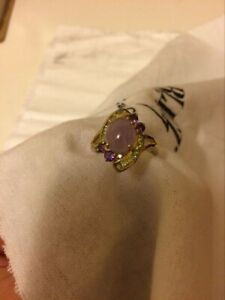 14K Lavender Jade and Multi-Gemstones Ring - SIZE 7 3/4 ( New Without Tag )