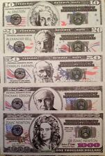 SCIENTISTS & INVENTORS 10 - 1000 DOLLAR NOVELTY (5) NOTE SET FROM A USA SELLER !