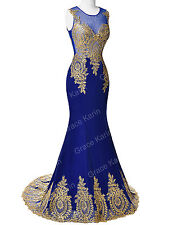 Fashion Elegant Black Red Gold Lace Mermaid Evening Dress Party Prom Masquerade
