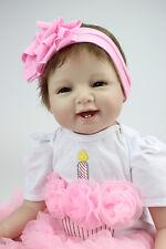 55cm Realistic Handmade Girl doll Reborn Baby Silicone Vinyl/FREE SHIPPING
