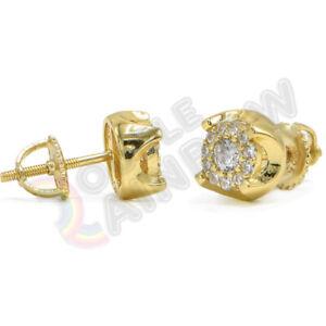 Screwback 925 Sterling Silver Gold Earrings Men Stud Diamond 7mm Round #216