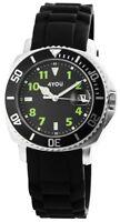 4You Herrenuhr Schwarz Grün Silber Analog Datum Silikon Armbanduhr D-250008007