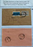 1931 Khartoum Sudan Airmail First Flight Cover FFC To Cape Town South Africa