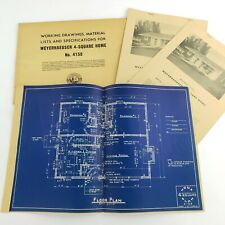Vintage Architectural Blueprints Mid Century House Residential Drawings Plans #3
