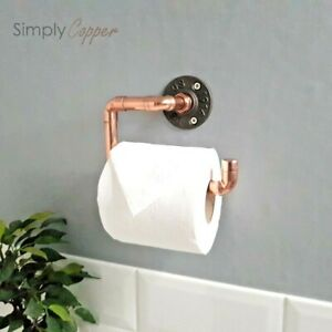 Copper Toilet Roll Holder + Cast Iron Wall Mount - Industrial Style Real Copper