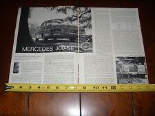 1963 MERCEDES BENZ 300SE - ORIGINAL ARTICLE LITERATURE 300-SE